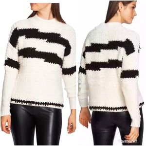 1.State Zig Zag Mock Neck Textured Sweater Small
